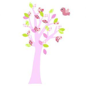 Behang sticker boom roze met vogel