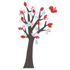 Behangboom rood mint met vogel