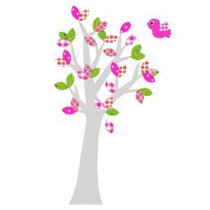 Behangboom vogel roze met zilveren stam