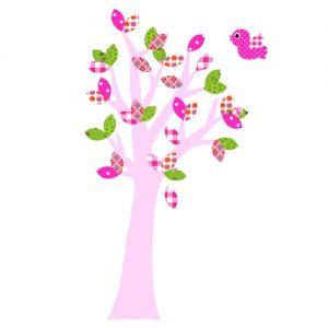 Behangboom roze stam met vogel