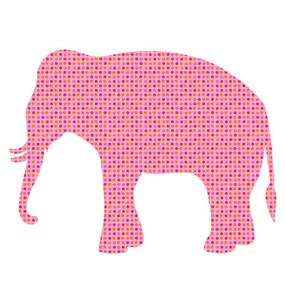Behangdier olifant is een muurdecoratie van behang voor de kinderkamer of babykamer. Behangdier olifant is roze met gekleurde stippen.
