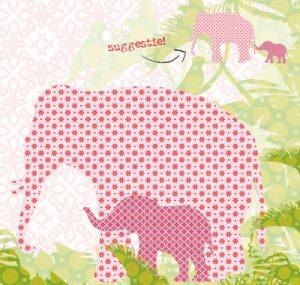 Behangbeest olifant met haar jong. Leuk voor in de babykamer.