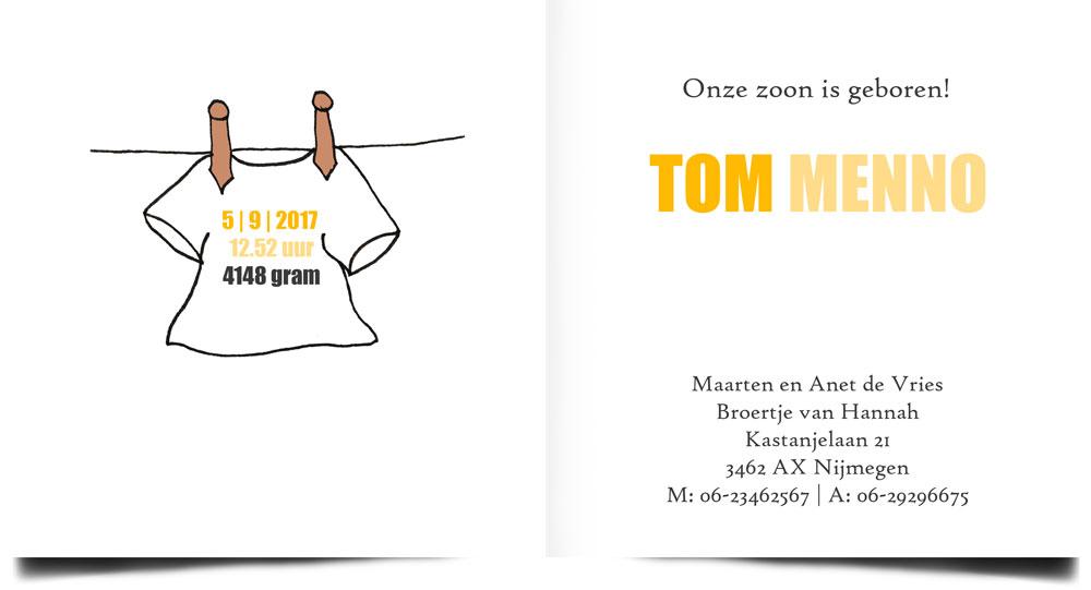 Stoer geboortekaartje, handgetekend shirtje aan de waslijn