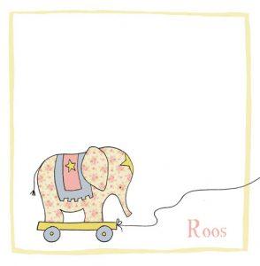 Handgetekend geboortekaartje met trekolifantje in zachte pastel tinten. Klassiek geboortekaartje met ingetogen illustratie.