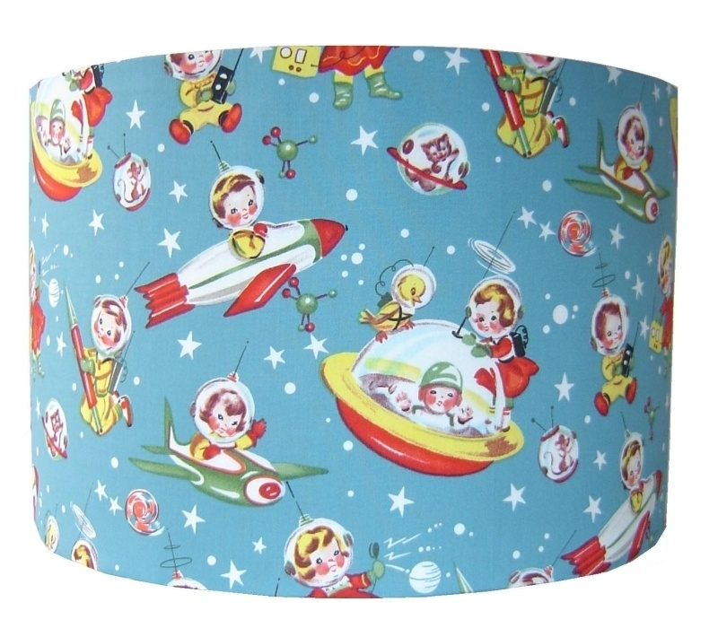 Kinderlamp met retro raketjes