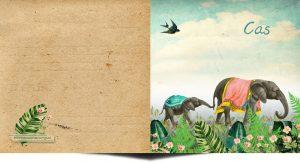 Geboortekaartje nostalgisch met moeder en baby olifant in jungle met bloemen.