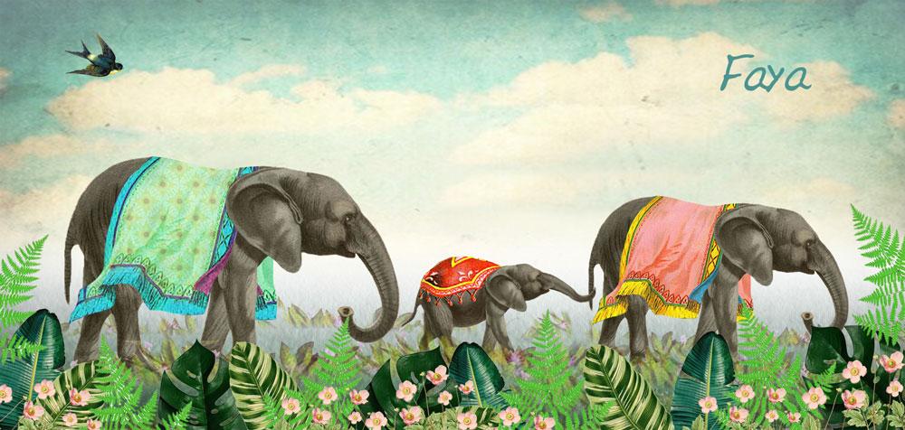 Geboortekaartje nostalgisch met olifanten familie in jungle met bloemen.