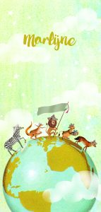 Retro vintage geboortekaartje met wereldbol en zebra, vos, kangaroe, leeuw