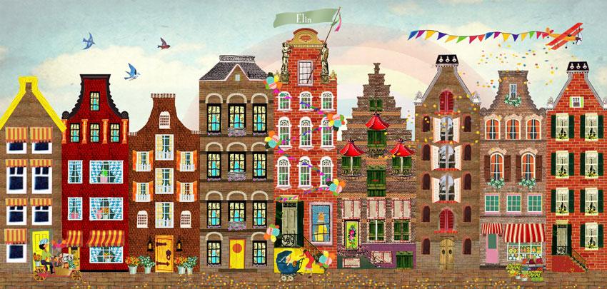 Geboortekaartje Amsterdam, voor de kindjes die in de grote stad zijn geboren. Een lief Amsterdams geboortekaartje.