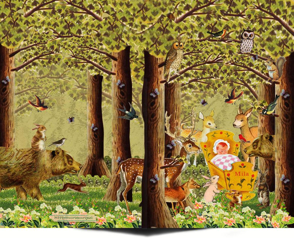 Geboortekaartje nostalgisch bos met bosdieren zoals de beer, hert, konijn, uil, eekhoorn en vos. Ze staan allemaal rond het wiegje om de baby te bewonderen. Een geboortekaartje waar retro en nostalgie samen komen in een mooi illustratief geboortekaartje.