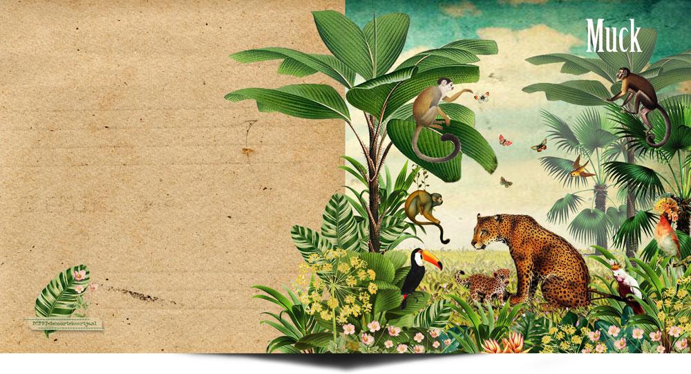 Geboortekaartje jungle met dieren die in de jungle voorkomen. De panter, jaguar, toekan, aap en kakatoe. Een hip geboortekaartje jungle voor wie van niet te zoet houdt. Trendy geboortekaartje 2018.
