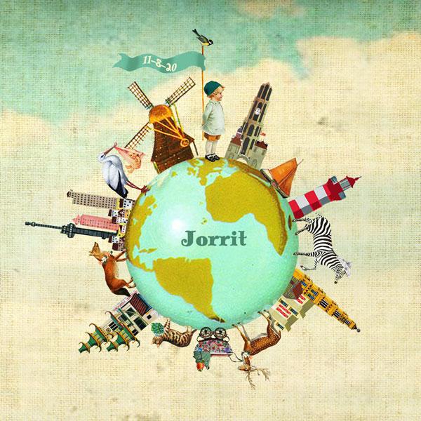Geboortekaartje wereld steden
