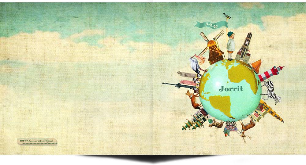 Retro geboortekaartje met wereldbol. Je ziet de Dom van Utrecht, een vuurtoren, de Westertoren in Amsterdam, China Town en de Euromast van Rotterdam. Maar ook een molen, ooievaar, boot, zebra, hert, wandelwagentje, kat en vos. Nostalgisch geboortekaartje voor de nieuwe wereldburger.