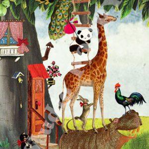 Ansichtkaart giraf. Ansichtkaart met nijlpaard, giraf, pandabeer, haan, haas en pauw van Studio POPPY is met veel aandacht en zorg gemaakt. Geschikt om te versturen maar ook leuk als begeleidend schrijven bij een kado. Of een ansichtkaart inlijsten misschien? Wat je er ook mee doet, met deze vrolijke ansichtkaarten maak je een ander blij.