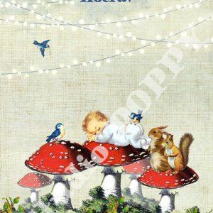 Ansichtkaart baby geboren. Ansichtkaart met paddenstoelen en eekhoorns en pasgeboren baby van Studio POPPY is met veel aandacht en zorg gemaakt. Geschikt om te versturen maar ook leuk als begeleidend schrijven bij een kado. Of een ansichtkaart inlijsten misschien? Wat je er ook mee doet, met deze vrolijke ansichtkaarten maak je een ander blij.