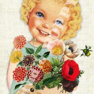 Ansichtkaart bedankt. Ansichtkaart met meisje en bos bloemen van Studio POPPY is met veel aandacht en zorg gemaakt. Geschikt om te versturen maar ook leuk als begeleidend schrijven bij een kado. Of een ansichtkaart inlijsten misschien? Wat je er ook mee doet, met deze vrolijke ansichtkaarten maak je een ander blij.