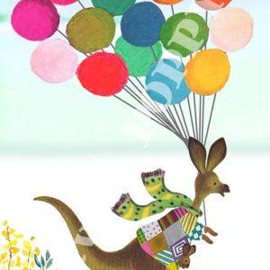 Ansichtkaart verjaardag feest. Ansichtkaart met kangoeroe en ballonnen van Studio POPPY is met veel aandacht en zorg gemaakt. Geschikt om te versturen maar ook leuk als begeleidend schrijven bij een kado. Of een ansichtkaart inlijsten misschien? Wat je er ook mee doet, met deze vrolijke ansichtkaarten maak je een ander blij.