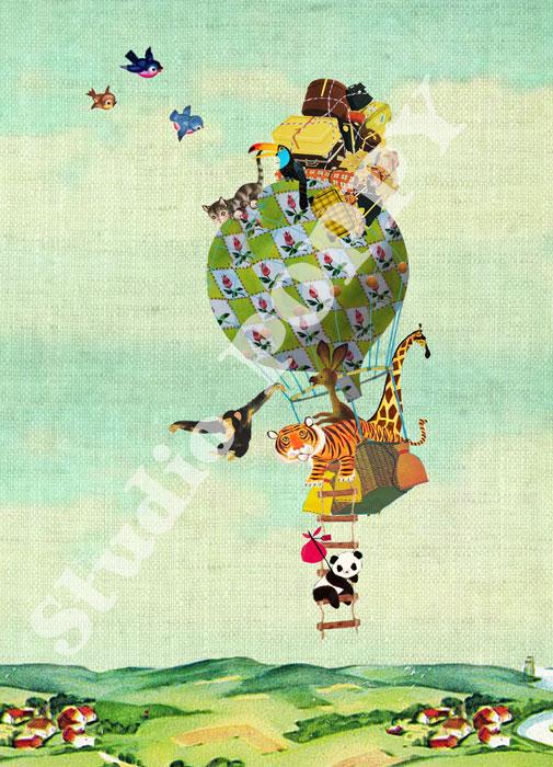 Ansichtkaart luchtballon dieren op reis. Ansichtkaart met dieren op reis van Studio POPPY is met veel aandacht en zorg gemaakt. Geschikt om te versturen maar ook leuk als begeleidend schrijven bij een kado. Of een ansichtkaart inlijsten misschien? Wat je er ook mee doet, met deze vrolijke ansichtkaarten maak je een ander blij.