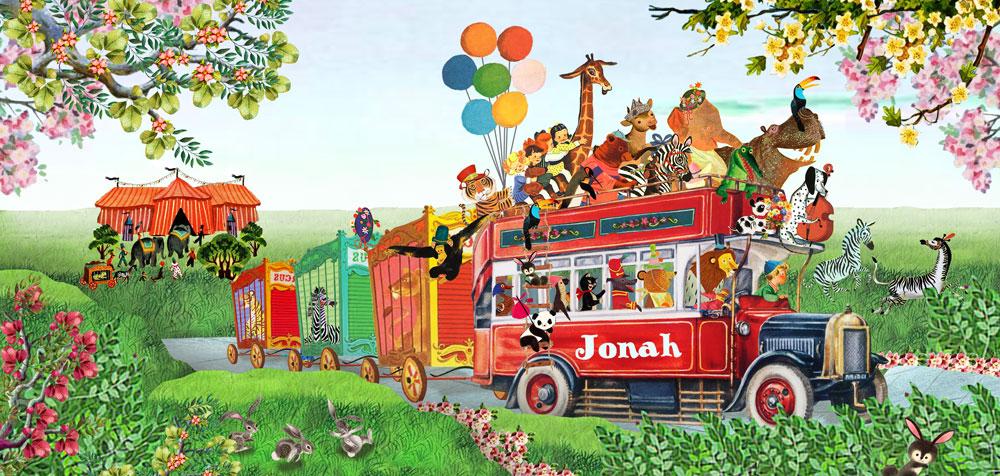 Geboortekaartje nostalgisch bus met circus dieren zoals neushoorn, olifant, koe, beer, giraf, hond, tijger, zebra, aap, pinguin en poes. Een geboortekaartje waar retro en nostalgie samen komen in een mooi illustratief geboortekaartje.