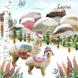 Winter geboortekaartje alpaca. Een nostalgisch geboortekaartje van Studio POPPY.