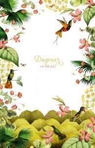 Jungle geboortekaartje met kolibrie en bloemen.
