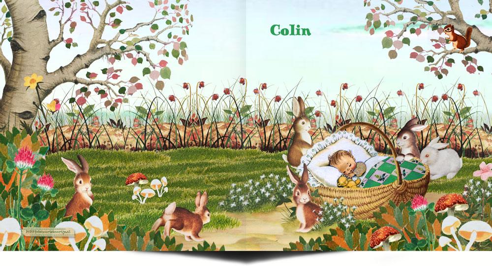 Geboortekaartje herfst met konijntjes en paddenstoelen.