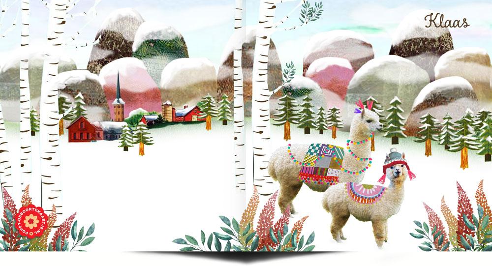 Geboortekaartje nostalgisch met alpaca in de winter. Een geboortekaartje waar retro en nostalgie samen komen in een mooi illustratief geboortekaartje.