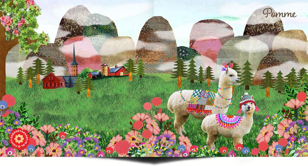 Lente geboortekaartje met bloemen en alpaca