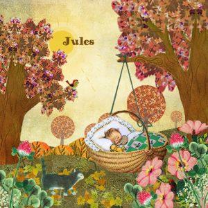 geboortekaartje herfst met baby in mandje in het herfst zonnetje. Het vogeltje fluit en de poes maakt zijn wandelingetje