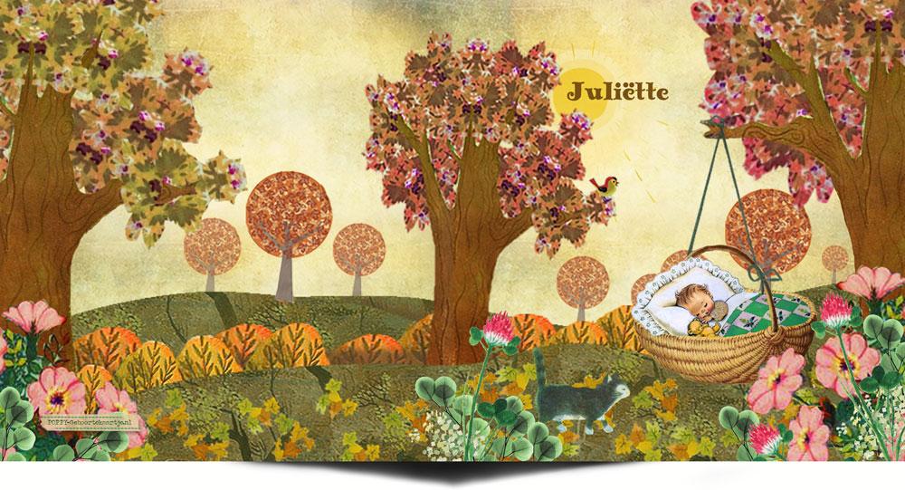 herfst geboortekaartje in herfst kleuren met bomen, bloemen en baby in mandje