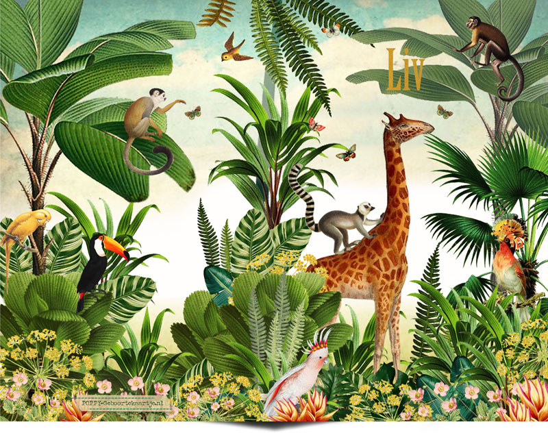 Geboortekaartje jungle met giraffe en aapjes. Dit jungle geboortekaartje is hip en speels zonder zoet te zijn. Het jungle thema kun je ook doortrekken naar het jungle kinderkamertje.
