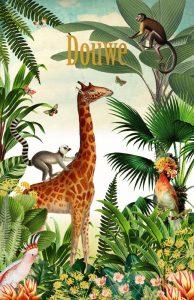 Geboortekaartje botanisch met giraffe en aapjes. Dit jungle geboortekaartje is hip en speels zonder zoet te zijn. Het jungle thema kun je ook doortrekken naar het jungle kinderkamertje.