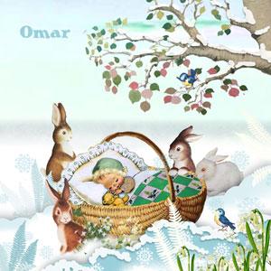 Retro geboortekaartje winter met konijntjes en baby in mandje