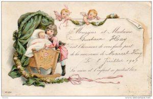 Vintage geboortekaartje van vroeger, onze geboortekaartjes zijn geïnspireerd op deze vintage geboortekaartjes maar helemaal van nu.