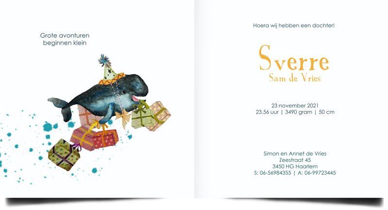 Geboortekaartje walvis met pakjes en feestmutsje. Geboortekaartjes van POPPY-Geboortekaartje voor al jouw retro, vintage en oud hollandse geboortekaartjes