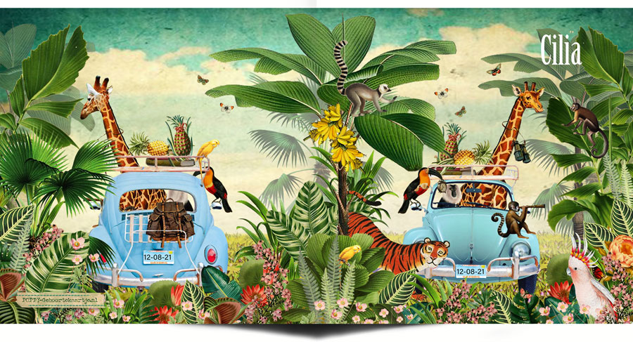 Geboortekaartje jungle safari met de volkswagen. De giraffe, toekan en aapjes gaan mee met genoeg profiand. Ze hebben trek gekregen in een banaan of ananas. De tijger komt ook al kijken wat er te zien is.
