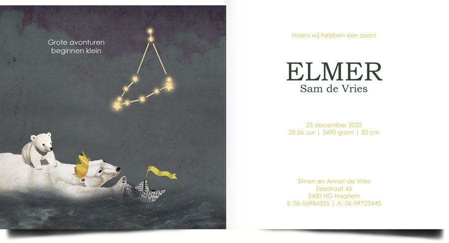 Geboortekaartje sterrenbeeld. Aan de binnenkant staat het sterrenbeeld met sterren afgebeeld. Nostalgisch vintage retro geboortekaartje. De papieren bootjes hebben elke betekenis die jij er aan wil geven.