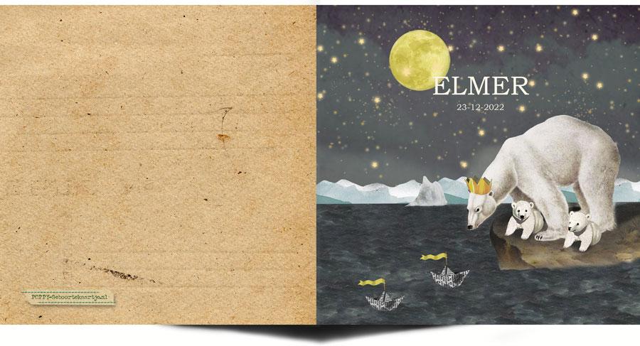 Geboortekaartje ijsbeer met sterren en maan. Aan de binnenkant staat het sterrenbeeld met sterren afgebeeld. Nostalgisch vintage retro geboortekaartje. De papieren bootjes hebben elke betekenis die jij er aan wil geven.