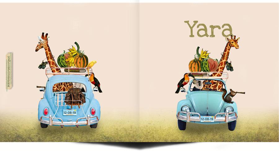 Geboortekaartje jungle safari met volkswagen. De giraffe, toekan en aapjes gaan mee met genoeg profiand. Ze hebben trek gekregen in een banaan, meloen, pompoen of ananas.