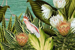 Botanisch behang of canvas tropische dieren zoals de tijger, toekan en flamingo.