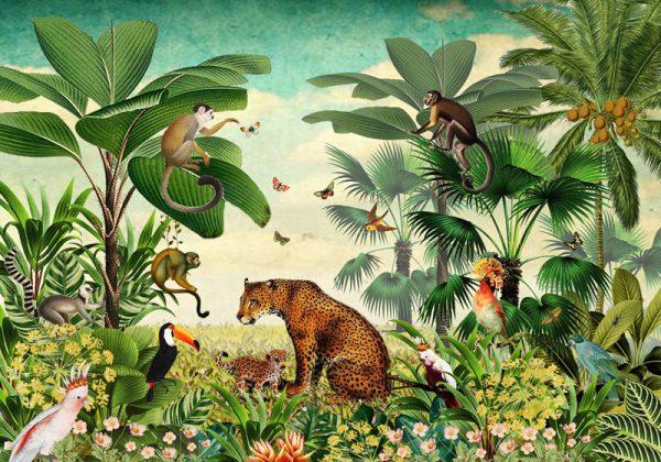Tropisch oerwoud behang als eyecatcher, dan ben je bij Studio POPPY aan het juiste adres. Botanisch behang in schitterende kleuren, jungle behang voor de kinderkamer, fotobehang dat geschikt is voor keuken, badkamer, kinderkamer en huiskamer.