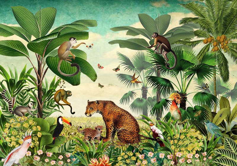 Behang Kinderkamer Jungle.Behang Jungle Van Studio Poppy Luipaard Aapjes En Vogels