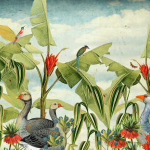Een tropische tuin met bananenblad en ganzen. Tropische vogels en vlinders vliegen rond.