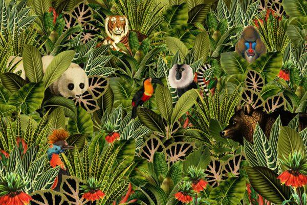 Een jungle behang of canvas met botanische planten. Als je goed zoekt zie je een beer, panda, aap, baviaan, tijger en toekan.