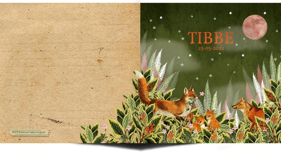 Lief geboortekaartje met vosjes. Dit botanische geboortekaartje in groen, oudroze en koper is een heel stijlvol kaartje voor jullie baby. Ook verkrijgbaar in foliedruk, goudfolie en koperfolie zijn erg mooi voor dit geboortekaartje met vos.