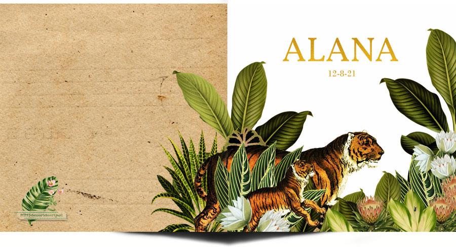 Geboortekaartje jungle met leeuwenfamilie en palmen. De echte goudfolie maken dit botanische geboortekaartje heel bijzonder.