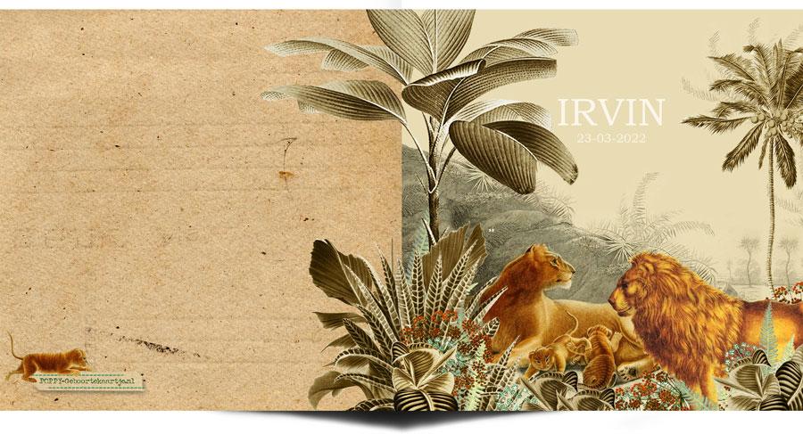 Jungle botanisch geboortekaartje met leeuwen familie. Botanisch geboortekaartje met palmen en varens, past helemaal in de bohemian trend van nu.