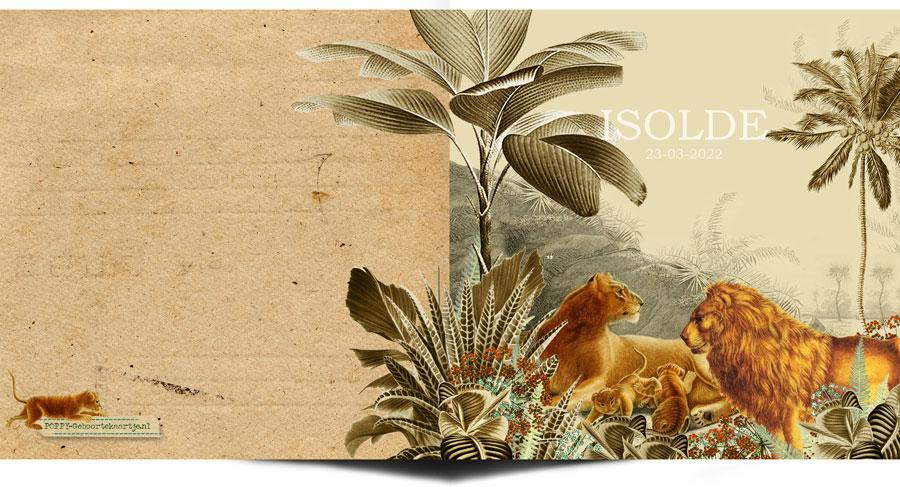 Jungle geboortekaartje met leeuwen familie. Botanisch geboortekaartje met palmen en varens, past helemaal in de bohemian trend van nu.