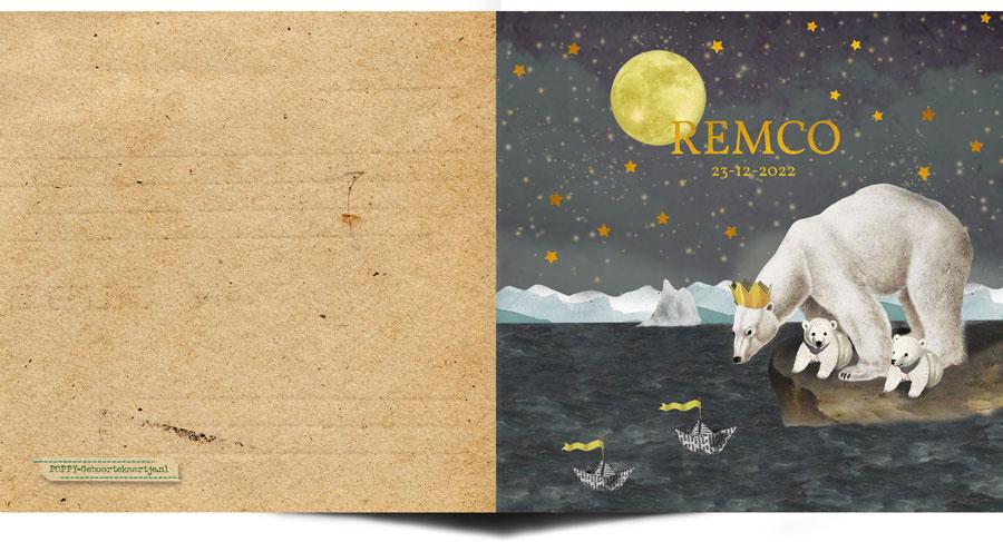 Geboortekaartje winter met ijsbeer en haar jong. De naam en sterren in de lucht zijn echte foliedruk. Met goudfolie of zilverfolie maak je er een bijzonder geboortekaartje van.