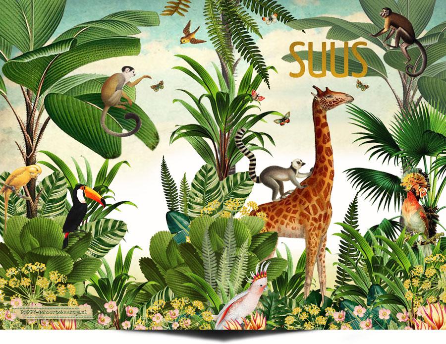 Geboortekaartje jungle met echte goudfolie. De foliedruk maakt dit botanische geboortekaartje extra bijzonder. De jungle dieren giraffe, aap en kaketoe ontbreken niet.